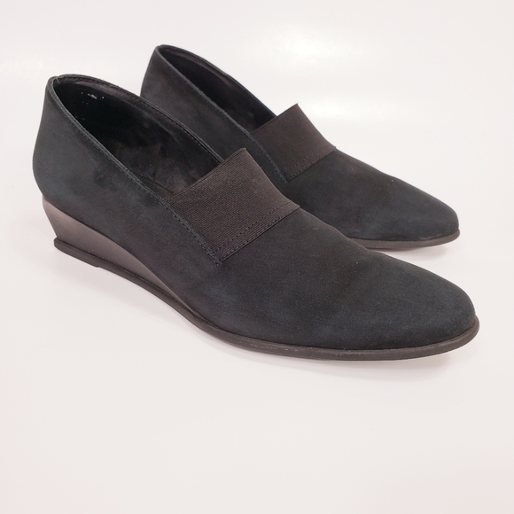 Arche Emyone Wedge Noir Black Nubuck Leather Shoes